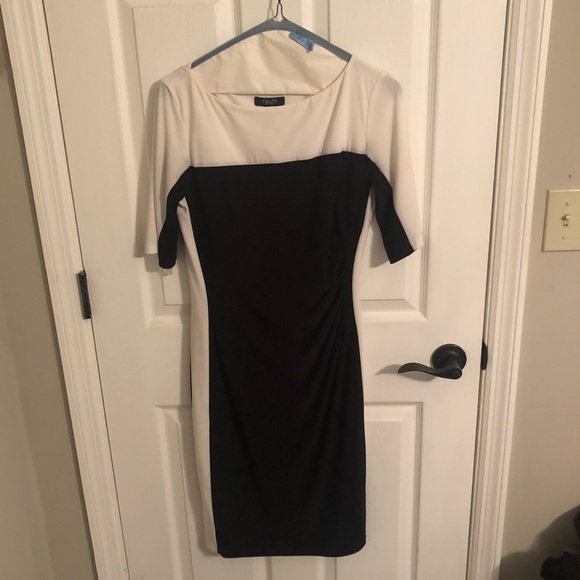 Chaps black and white colorblock dress